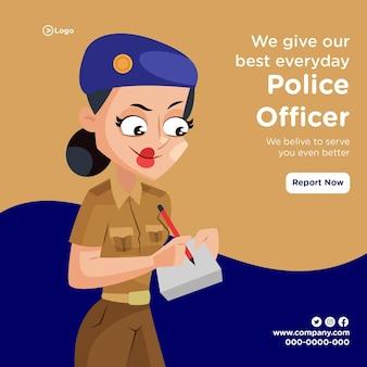 Banner van politieagent doen elke dag ons best
