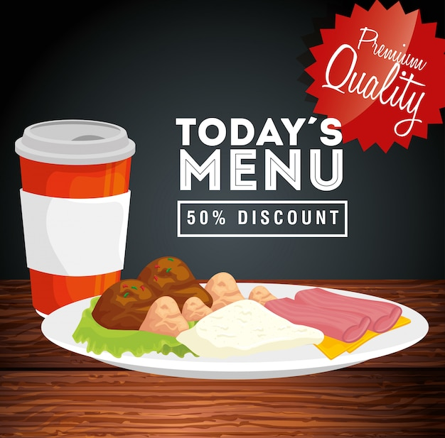 Banner van premium kwaliteit vandaag menu vijftig procent korting