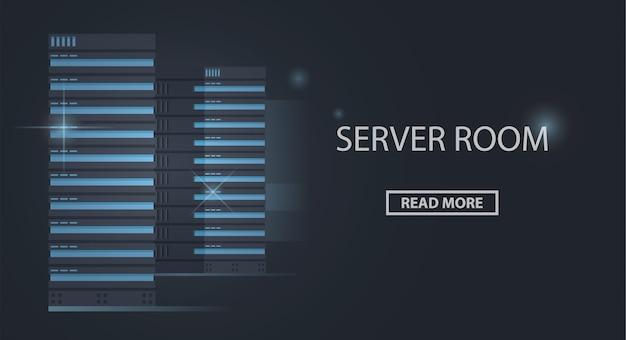 Banner van server racks, serverruimte, datacenter en cloudopslagtechnologie