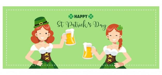 Banner van st patrick's day. leuke vrouwen juichen met een mok bier toe.