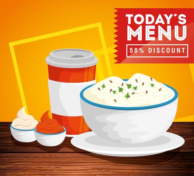 Banner van vandaag menu met vijftig korting en heerlijk eten