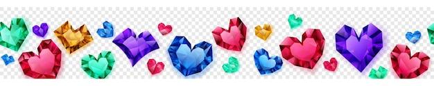 Banner van veelkleurige harten gemaakt van kristallen met schaduwen op transparante achtergrond