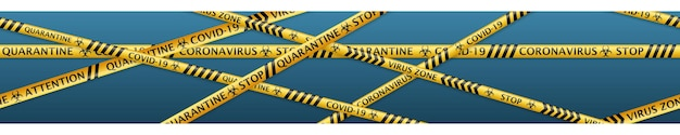 Banner van veiligheidstapes met coronaviruswaarschuwingslabels en biohazard-symbolen met naadloze horizontale herhaling. in zwarte en gele kleuren met zachte schaduwen op lichtblauwe achtergrond