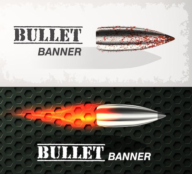 Banner van vliegende kogel ob militaire achtergrond concept