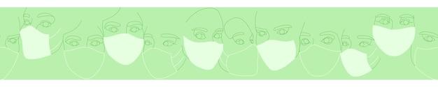 Banner van vrouwelijke gezichten in beschermende medische maskers getekend met één doorlopende lijn. minimalistische abstracte portretten van mooie vrouwen. moderne mode-concept. in groene kleuren