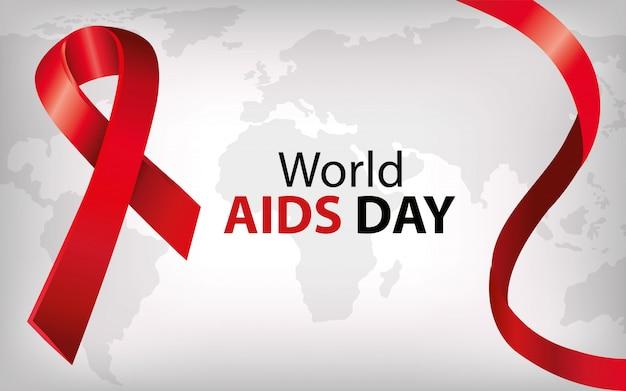 Banner van wereld aids dag met lint