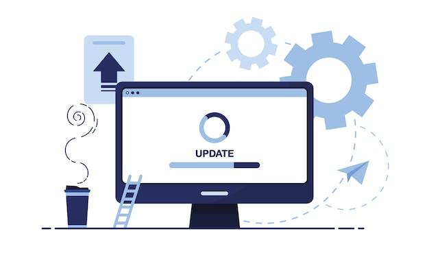 Banner van zakelijke marketing met onderhoud voor de werkplek thuis of op kantoor. blauw