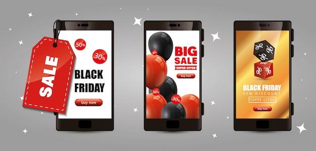 Banner van zwarte vrijdag met smartphone en decoratie instellen