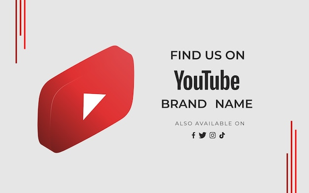 Banner vind ons youtube met pictogram