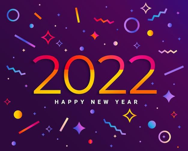Banner voor 2022 insta kleuren nieuwjaar. moderne designkaart, poster met geometrische vormen en prettige vakantie wensen. geweldig voor flyers, groeten, uitnodigingen. gefeliciteerd. sjabloon voor app. vector