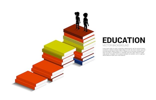 Banner voor de kracht van kennis. silhouet van kind staande op stapel boeken.