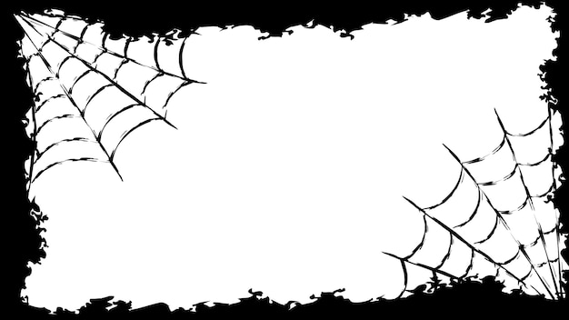 Banner voor de vakantie. gelukkig halloween-feest. snoep of je leven. patroon met een textuur in een eenvoudig grungeframe met een spinnenweb. vectorillustratie in zwart-wit.