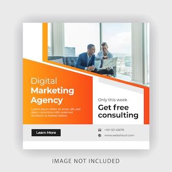 Banner voor digitale marketing sociale media Premium Vector