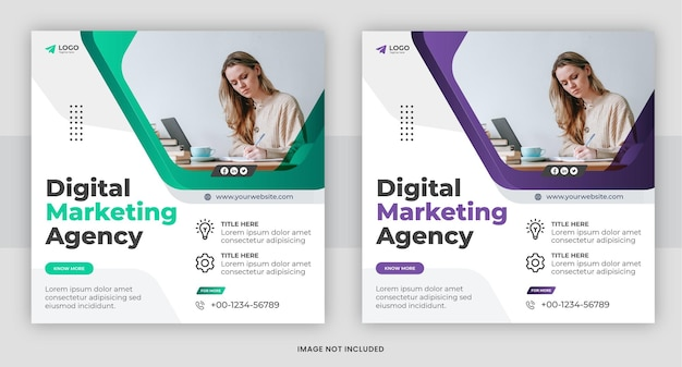 Banner voor digitale marketingbureaus of sjabloonontwerp voor sociale media