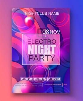 Banner voor electro night party, verloop achtergrond