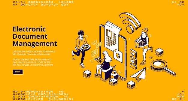 Banner voor elektronisch documentbeheer. online documentenopslag, digitaal systeem van papieren organisatie