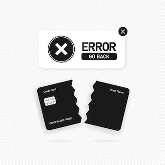 Banner voor mislukte betaling. geweigerde transactie, ongeldige aankoop. fout teken. vector op geïsoleerde transparante achtergrond. eps-10.
