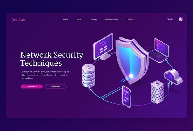 Banner voor netwerkbeveiligingstechnieken. concept van veiligheidsinternet-technologieën, gegevens veilig. bestemmingspagina van informatie beschermen met isometrische laptop, mobiele telefoon, computer en schildpictogram