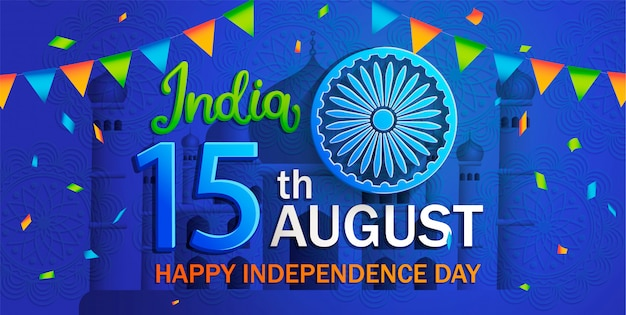 Banner voor onafhankelijkheidsdag van india.