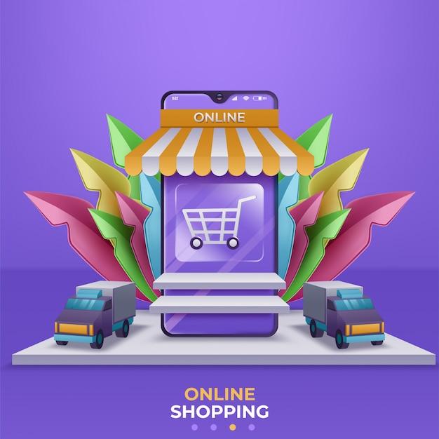 Banner voor online winkelen, sjablonen voor mobiele apps. illustratie