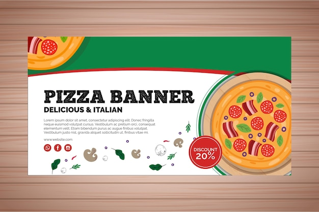 Banner voor pizzarestaurant