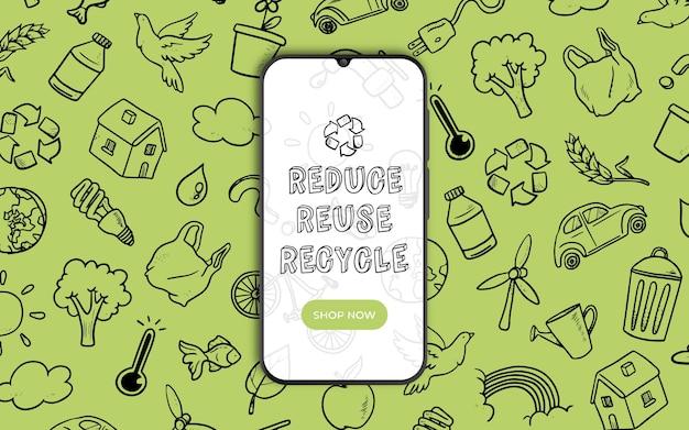 Banner voor recycling met smarthphone