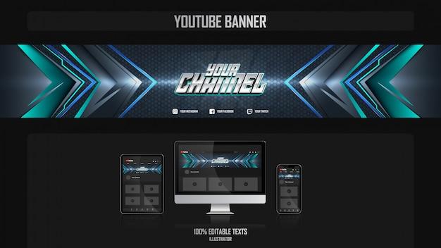 Banner voor sociaal mediakanaal met technologieconcept