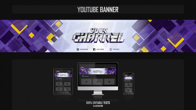 Banner voor social media kanaal met gamer concept