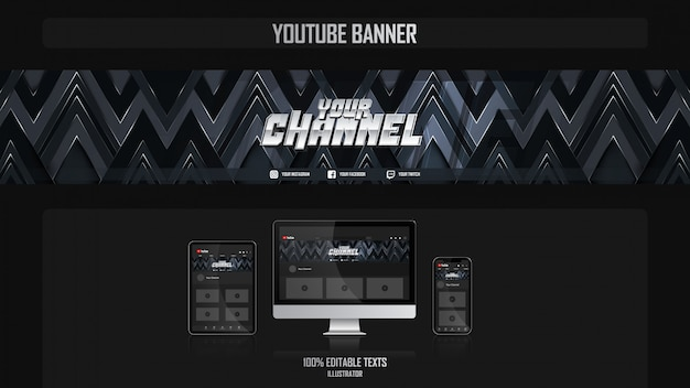Banner voor social media-kanaal met gamer-concept