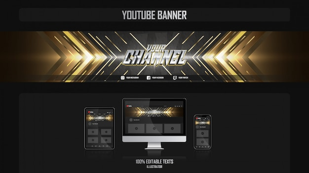 Banner voor social media-kanaal met luxe concept