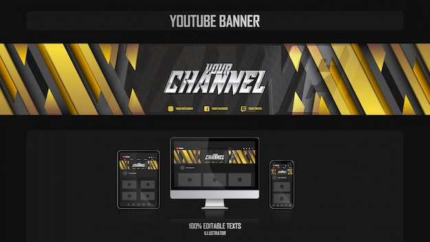 Banner voor social media kanaal met sport concept Premium Vector