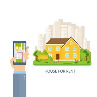 Banner voor verkoop, hand met telefoon met reclamehuis, huisje met bomen. aanbod koop huis. verhuur van onroerend goed. vector plat ontwerp, stedelijk landschap.