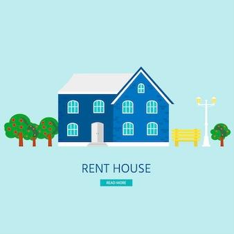 Banner voor verkoop, reclamehuis, huisje. aanbod koop huis. verhuur van onroerend goed. vector plat ontwerp, stedelijk landschap.
