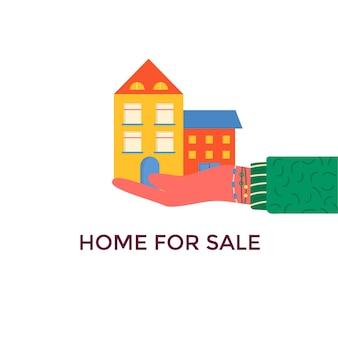 Banner voor verkoop, reclamehuis, huisje met bomen. aanbod koop huis. verhuur van onroerend goed. vector plat ontwerp, stedelijk landschap.