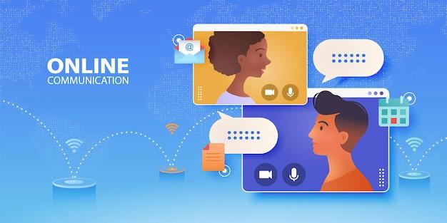Banner voor virtuele groepsbijeenkomsten met mensen op vensterschermen die praten via wifi-netwerk