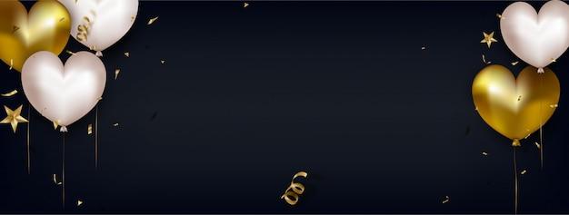 Banner voor vrouwendag of moederdag. de groetkaart van valentijnskaarten met leuke witte en gouden luchtharten op zwarte horizontaal.