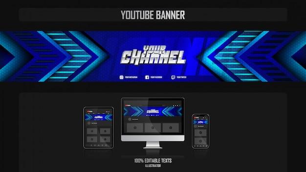 Banner voor youtube-kanaal met aëroob concept