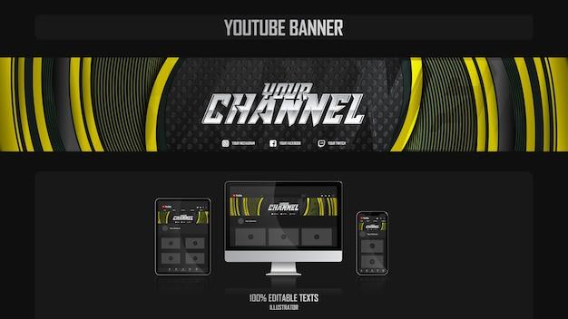 Banner voor youtube-kanaal met bedrijfsconcept