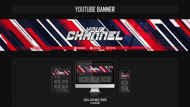 Banner voor youtube-kanaal met dynamisch concept