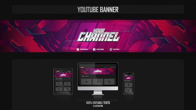 Banner voor youtube-kanaal met fantasy-concept Premium Vector