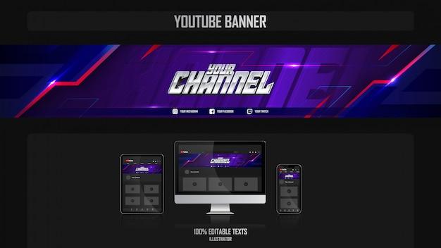 Banner voor youtube-kanaal met fitnessconcept