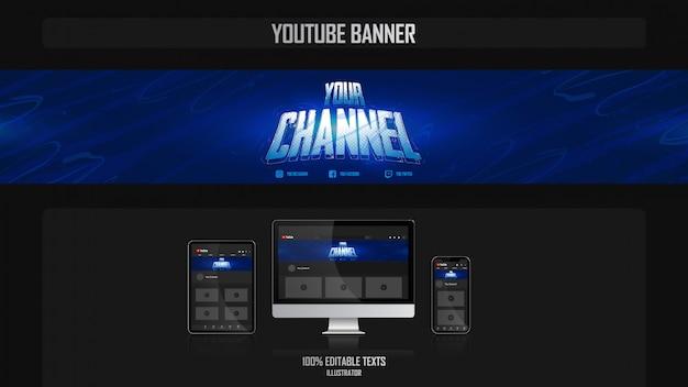 Banner voor youtube-kanaal met gamerconcept