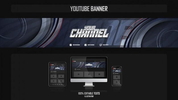 Banner voor youtube-kanaal met luxe concept