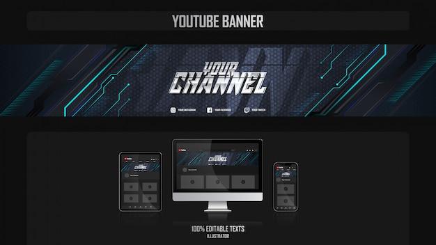 Banner voor youtube-kanaal met muziekconcept
