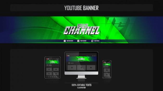 Banner voor youtube-kanaal met natuurconcept