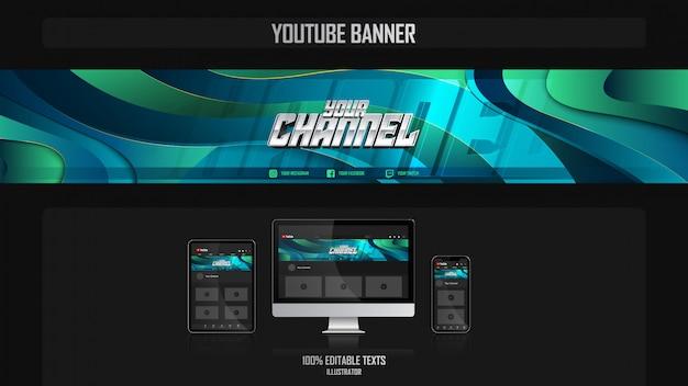 Banner voor youtube-kanaal met oceanic-concept
