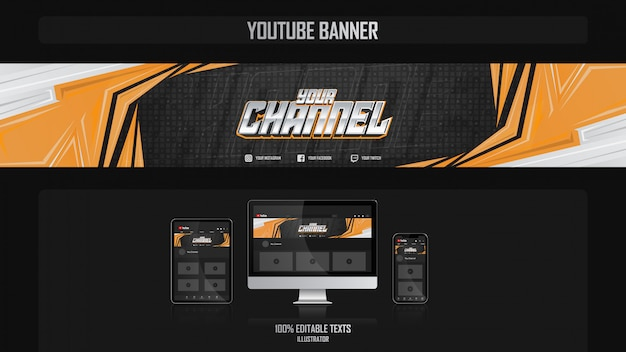 Banner voor youtube-kanaal met sport-concept