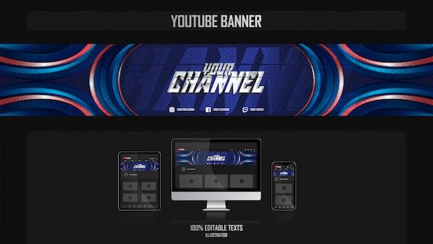 Banner voor youtube-kanaal met sportconcept
