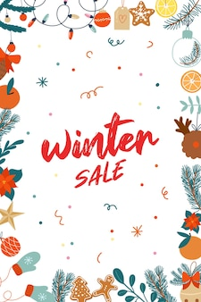 Banner winter sale met kerst illustations hand getrokken