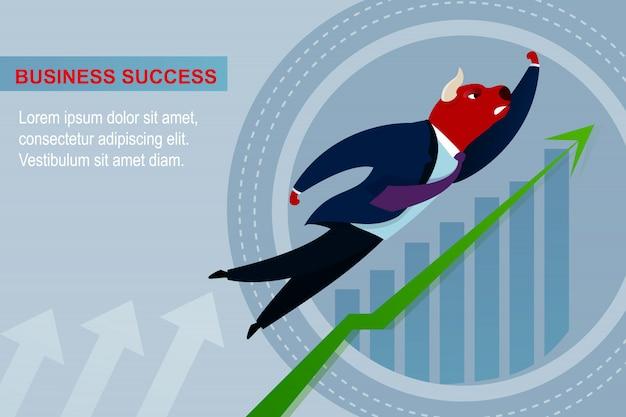 Banner zakelijk succes handelaar leider bull vliegen